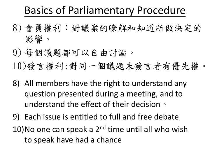 Basics of Parliamentary Procedure