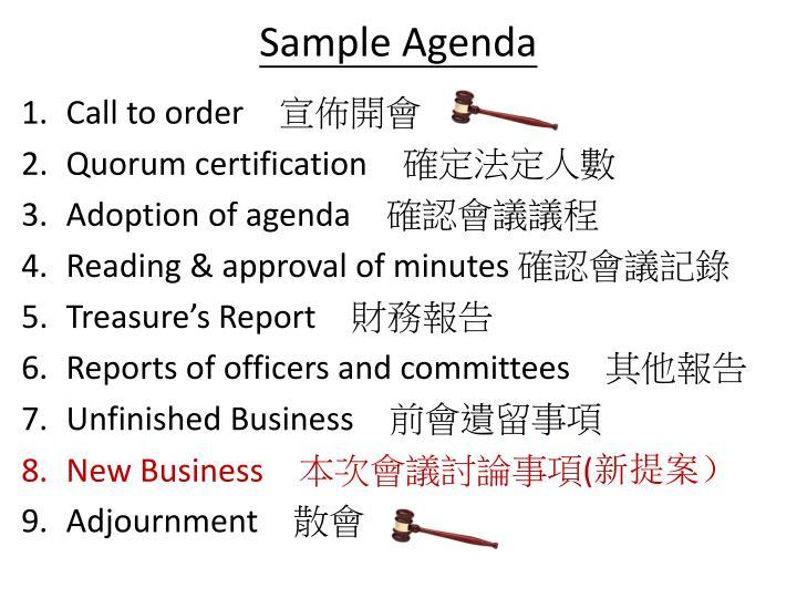 Sample Agenda