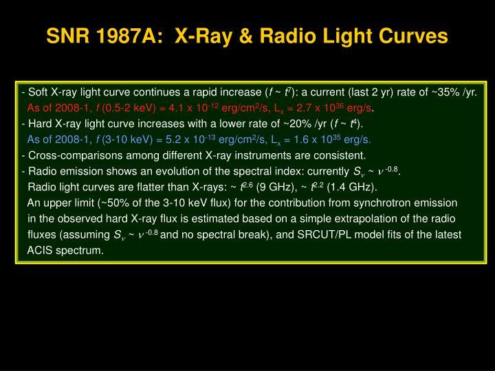 SNR 1987A:  X-Ray & Radio Light Curves