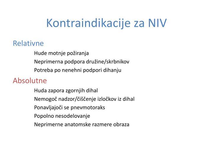 Kontraindikacije za NIV