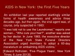 aids in new york the first five years