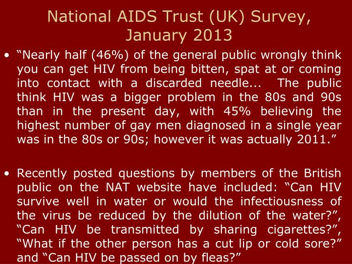 National AIDS Trust (UK) Survey, January 2013