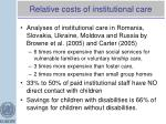 relative costs of institutional care