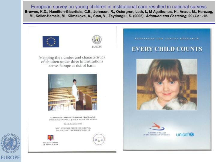 European survey on young children in institutional care resulted in national surveys