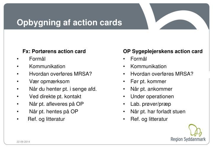 Opbygning af action cards