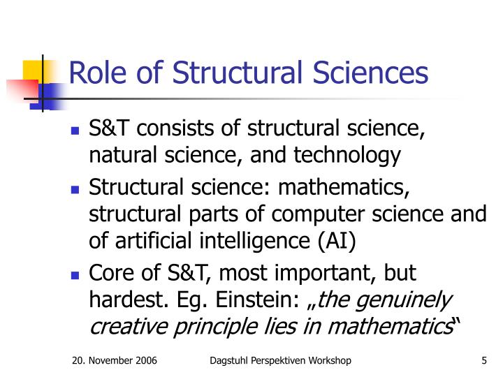Role of Structural Sciences