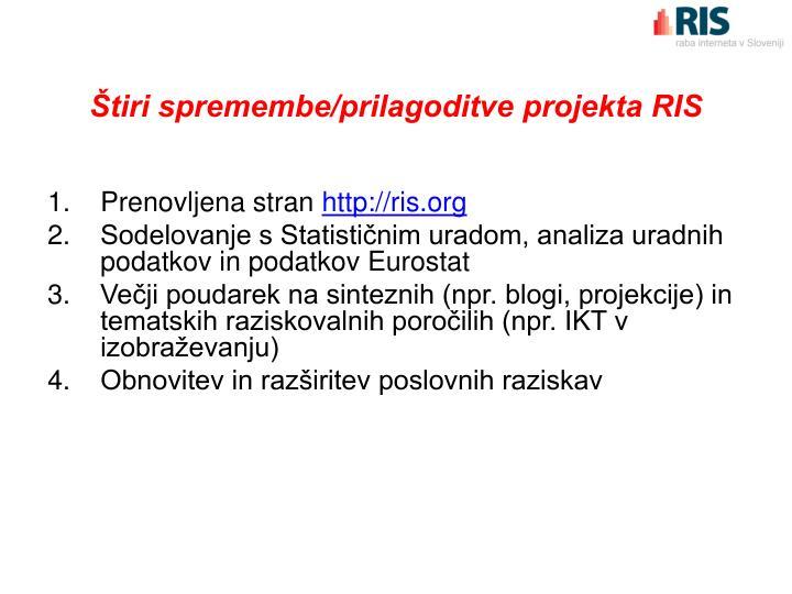 Štiri spremembe/prilagoditve projekta RIS