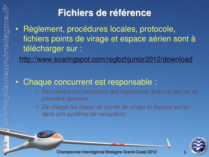 Fichiers de référence