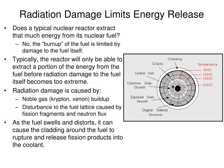 Radiation Damage Limits Energy Release