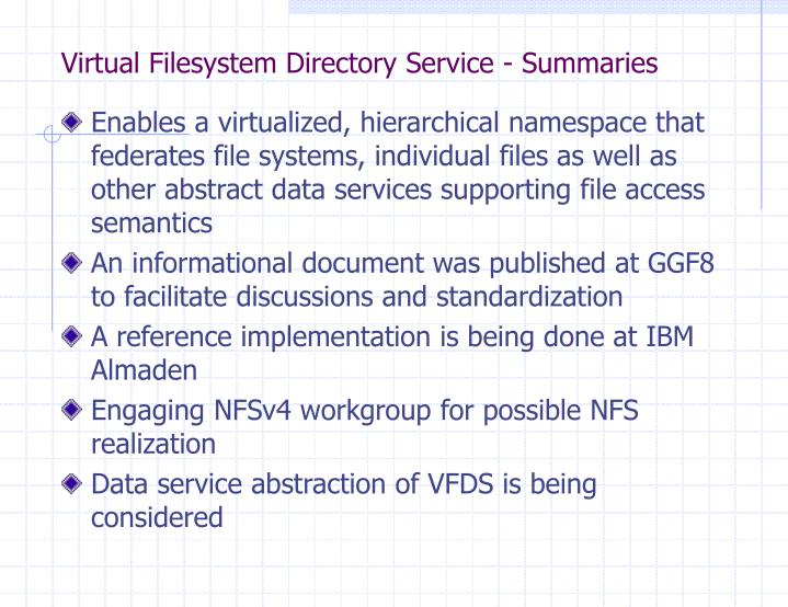 Virtual Filesystem Directory Service - Summaries