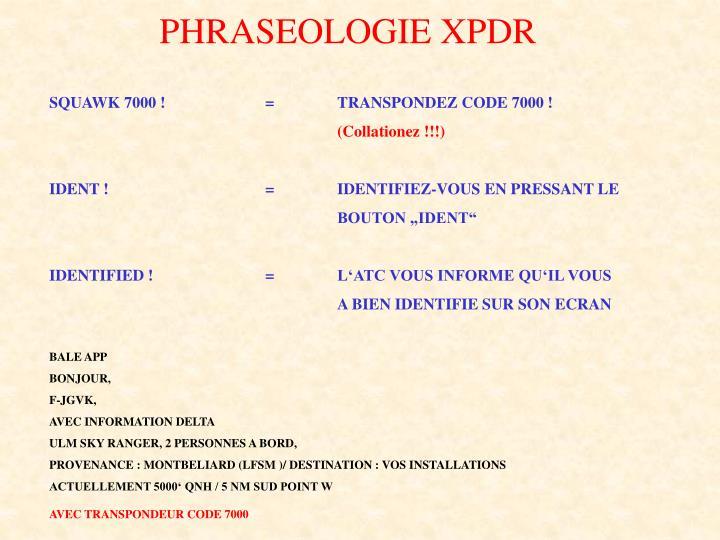 PHRASEOLOGIE XPDR