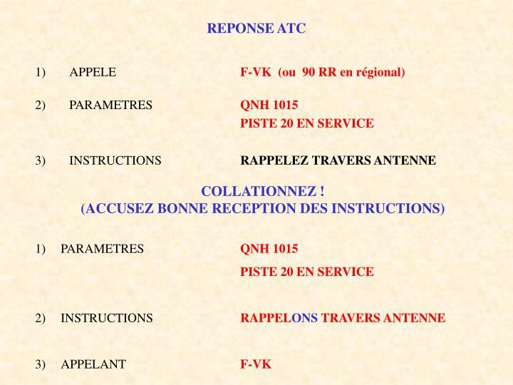 REPONSE ATC