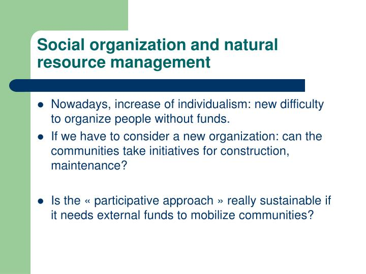 Social organization and natural resource management