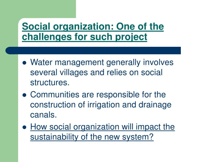 Social organization: One of the challenges for such project
