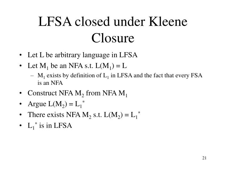 LFSA closed under Kleene Closure