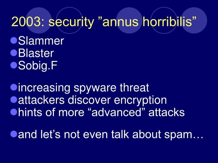 """2003: security """"annus horribilis"""""""