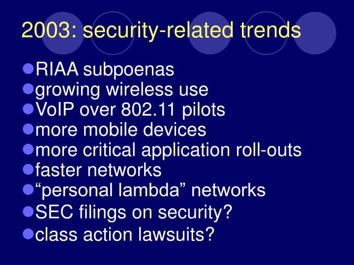 2003 security related trends