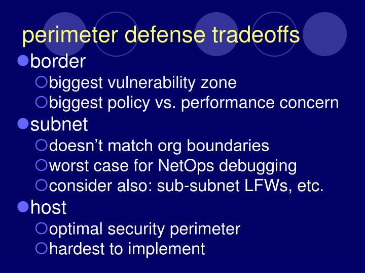 perimeter defense tradeoffs