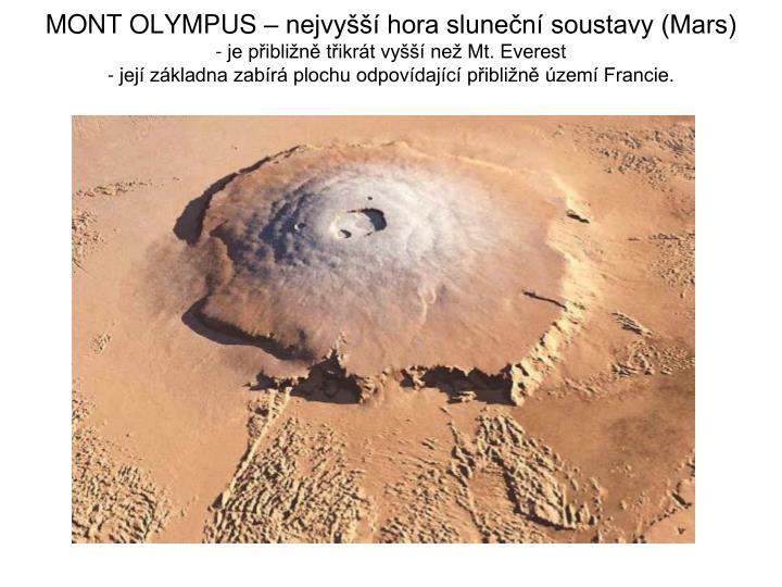 MONT OLYMPUS – nejvyšší hora sluneční soustavy (Mars)