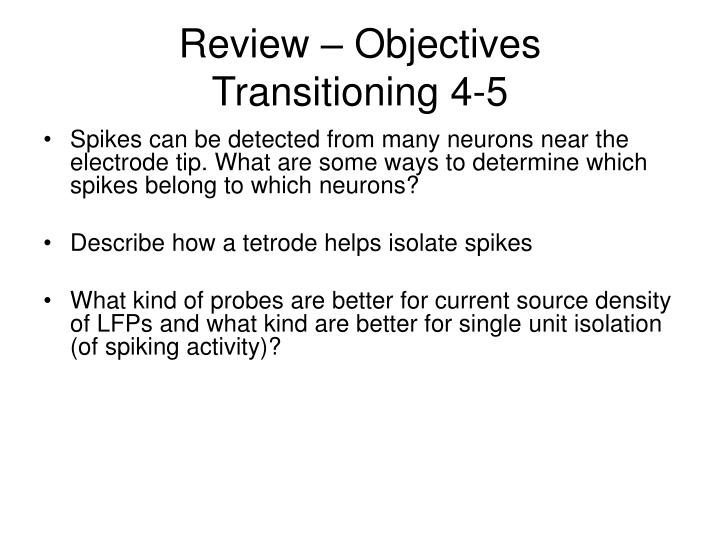 Review objectives transitioning 4 5