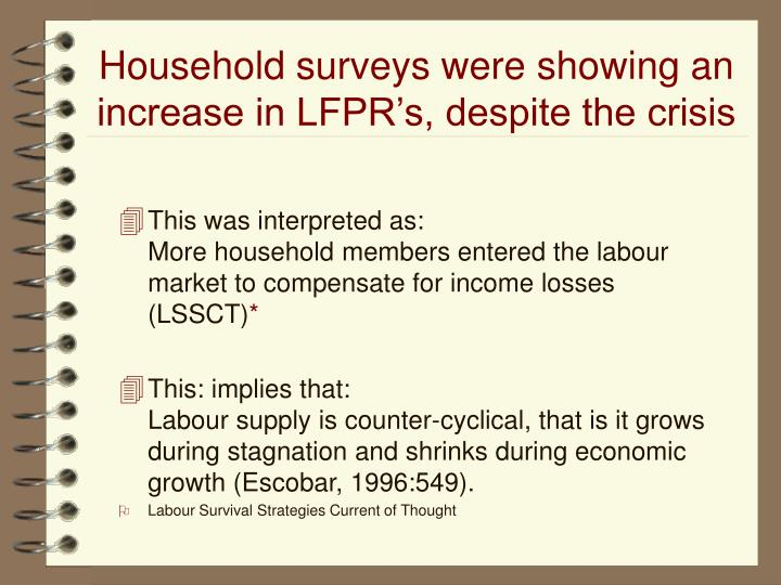This was interpreted as:                                 More household members entered the labour market to compensate for income losses (LSSCT)