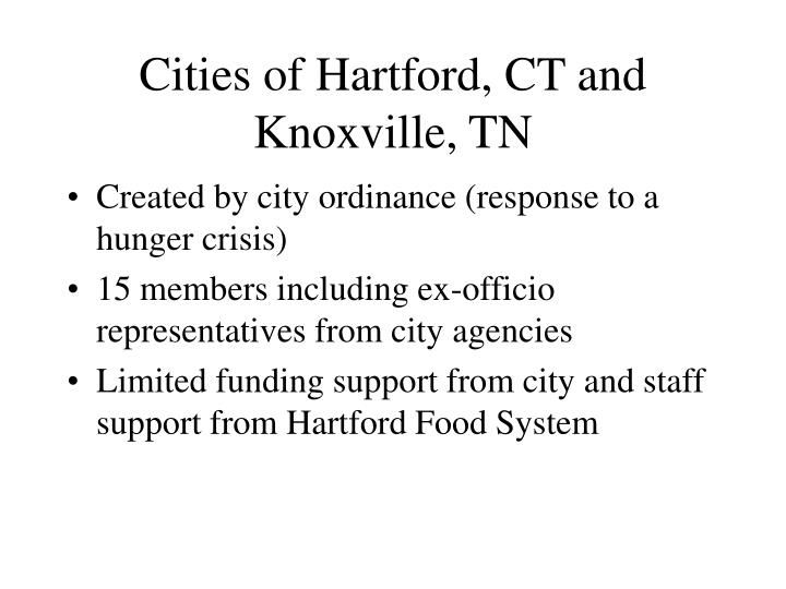 Cities of Hartford, CT and Knoxville, TN