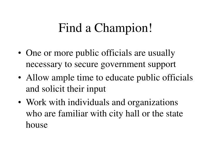 Find a Champion!