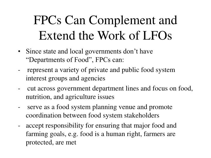 FPCs Can Complement and Extend the Work of LFOs