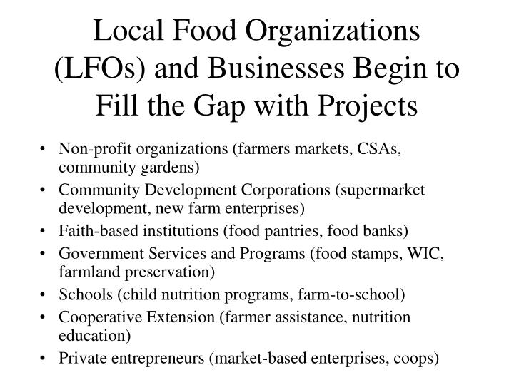 Local Food Organizations (LFOs) and Businesses Begin to Fill the Gap with Projects