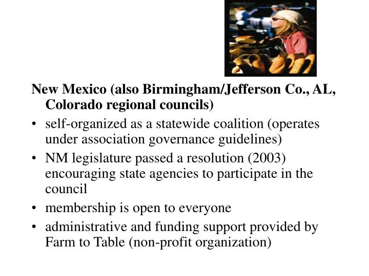 New Mexico (also Birmingham/Jefferson Co., AL, Colorado regional councils)