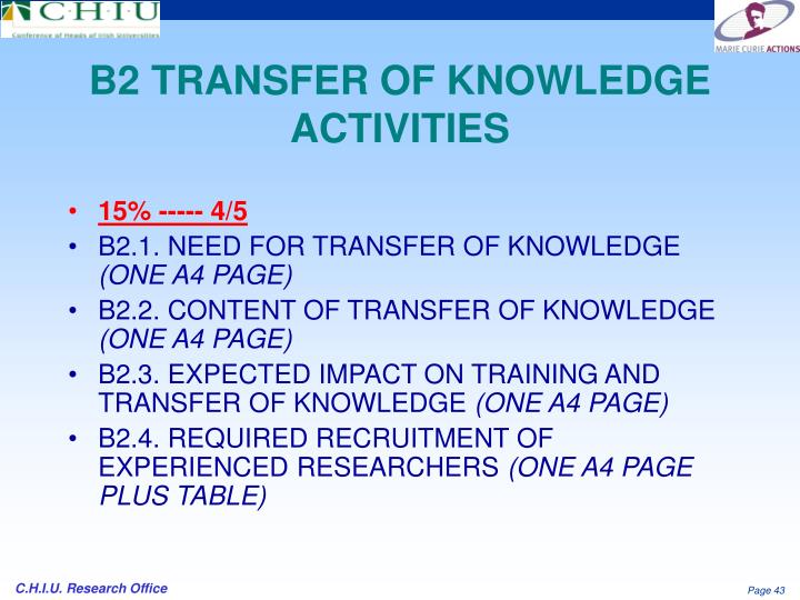 B2 TRANSFER OF KNOWLEDGE ACTIVITIES