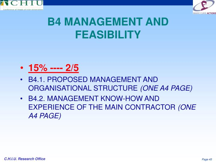 B4 MANAGEMENT AND FEASIBILITY