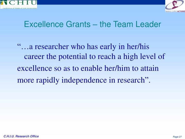 Excellence Grants – the Team Leader