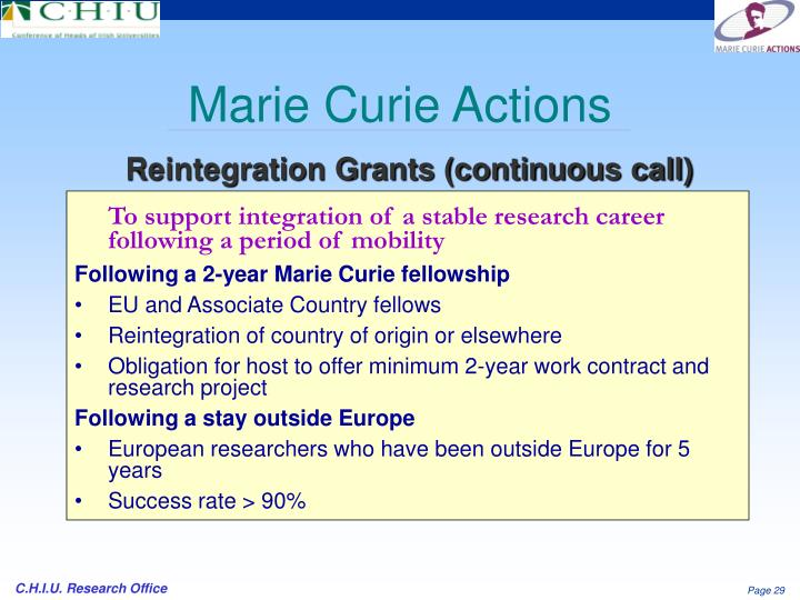 To support integration of a stable research career following a period of mobility