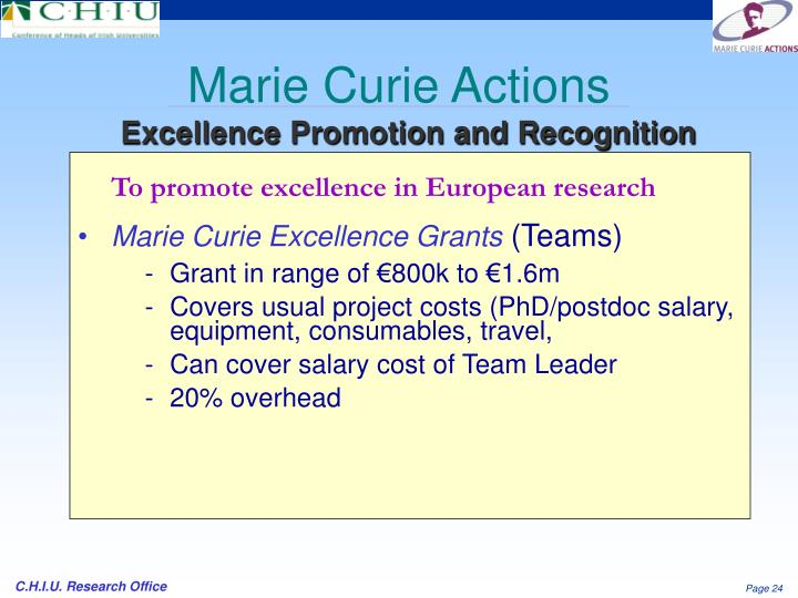 To promote excellence in European research