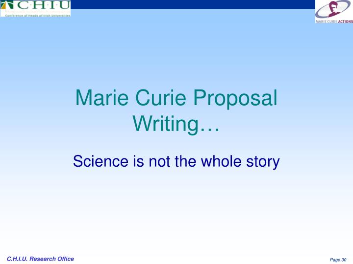 Marie Curie Proposal Writing…