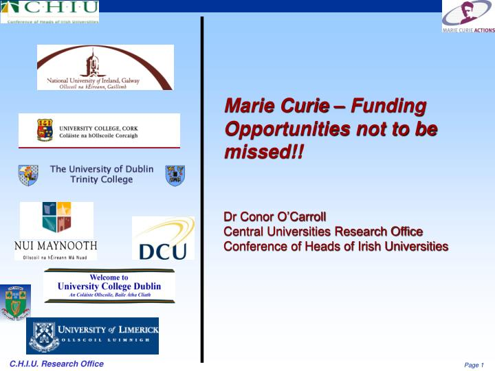 Marie Curie – Funding Opportunities not to be missed!!
