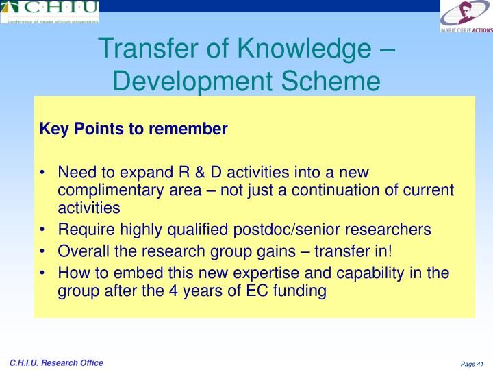 Transfer of Knowledge – Development Scheme