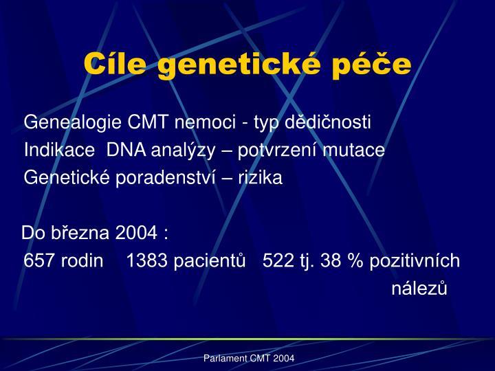 Cíle genetické péče