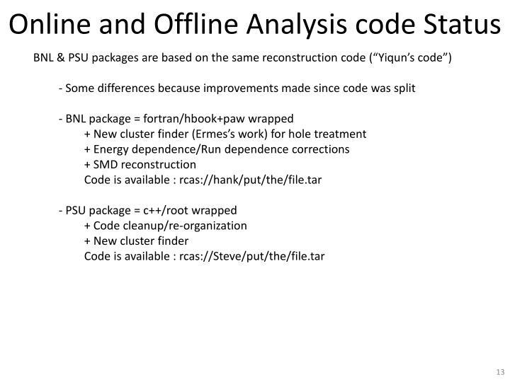 Online and Offline Analysis code Status