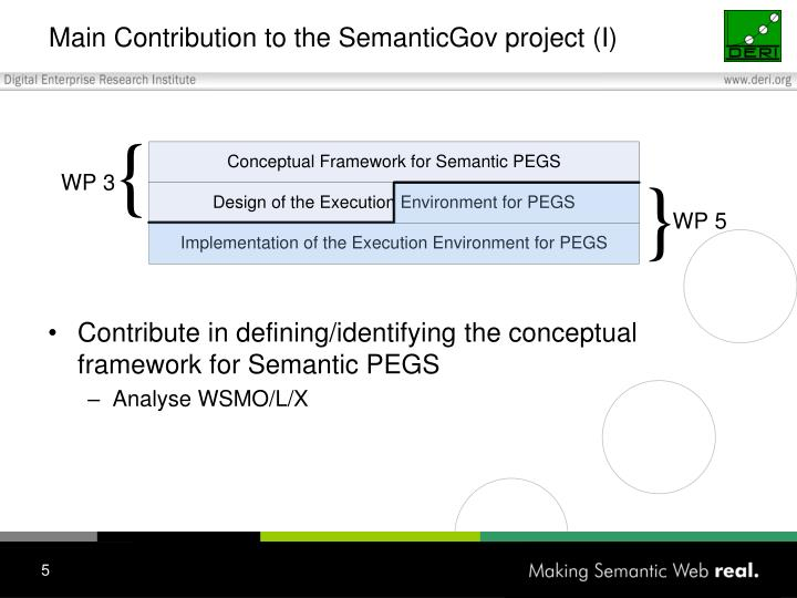 Main Contribution to the SemanticGov project (I)