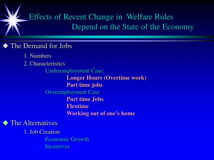 Effects of Recent Change in  Welfare Rules