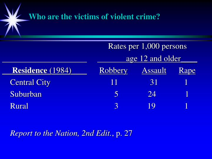 Who are the victims of violent crime?