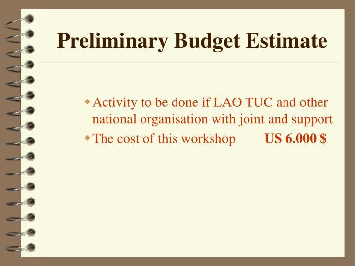 Preliminary Budget Estimate