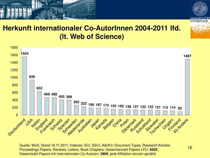 Herkunft internationaler Co-AutorInnen 2004-2011 lfd.