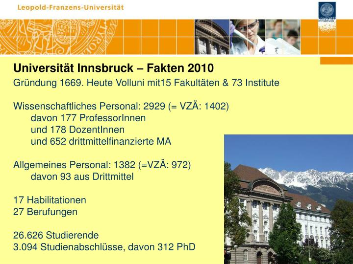 Universität Innsbruck – Fakten 2010