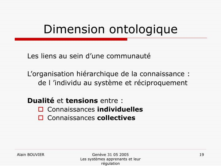 Dimension ontologique