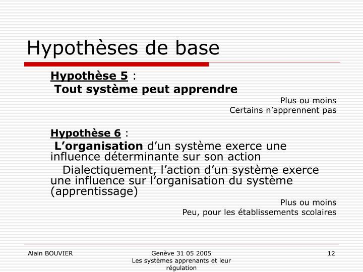 Hypothèses de base