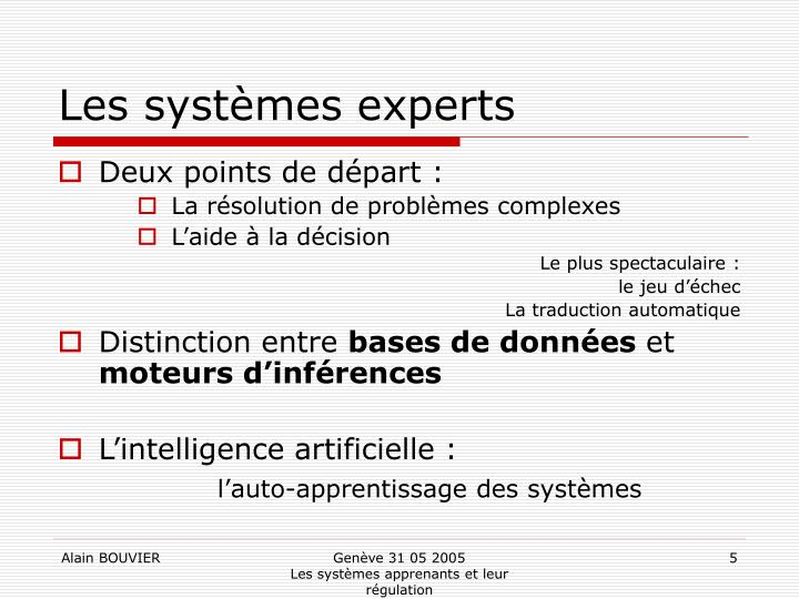 Les systèmes experts