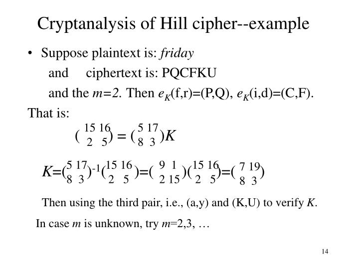 Cryptanalysis of Hill cipher--example